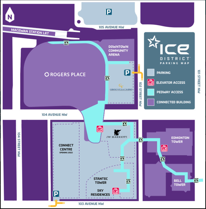 Rogers Place - Ice District Parking Map on Edmonton Parking Guide